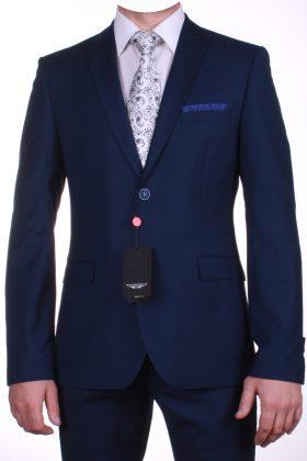 Матово-чернильно-синий костюм Неаполь с фактурной клеткой