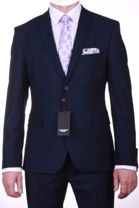 Темно-синий приталенный костюм Барберра